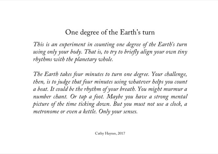 Cathy Haynes_One degree of the Earths turn_2017